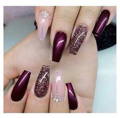 Purple Acrylic Nails, Gold Glitter Nails, Summer Acrylic Nails, Best Acrylic Nails, Gel Nail Art Designs, Pretty Nail Designs, Glam Nails, Beauty Nails, Gorgeous Nails