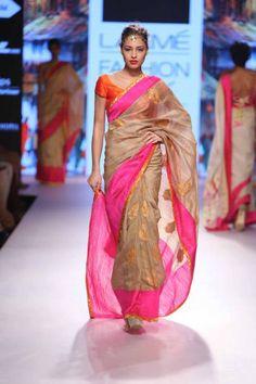 Sari by Mandira Bedi   gold orange and pink   Lakme Fashion Week Summer Resort 2015   thedelhibride Indian weddings blog