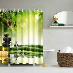 Natural Bamboo Polyester Waterproof Shower Curtain