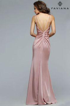 Faille satin v-neck evening dress w/ draped front | Faviana Style 7755 | Faviana