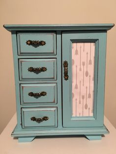 Wood Jewellery box Hand finished Shabby Chic / Rustic / Vintage Refinished Large Upcycled Light Pale Blue Arrow Paper Jewelry Cabinet Gift by Cattylalas on Etsy https://www.etsy.com/au/listing/272232614/wood-jewellery-box-hand-finished-shabby
