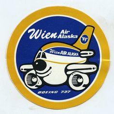 Vintage unused sticker  Wien Air Alaska Boeing 737 Jet Airplane