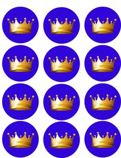 Blue with Gold Crown Edible Image Cupcake Toppers Crown Cupcake Toppers, Crown Cupcakes, Cupcake Cake Designs, Prince Birthday Party, 1st Birthday Parties, Baby Shower Treats, Gold Crown, Chocolate Covered Oreos, Party Stores