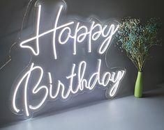 Happy Birthday Custom Party Neon Sign Acrylic Flex Led Custom | Etsy Company Signage, Neon Lamp, Custom Neon Signs, My Life Quotes, Led Signs, Signage Design, Neon Lighting, Happy Birthday, Design Ideas