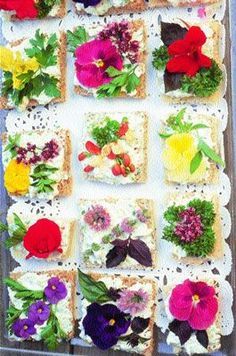 Chives: Show-Off Herbal Canapés. Perfect for high tea or any t ime. We call these Show-Off Herbal Canapés—fun to make and almost too beautiful to eat. Flower Food, Pansy Flower, Tea Sandwiches, Edible Flowers, Canapes, Food Presentation, High Tea, Afternoon Tea, Food Art