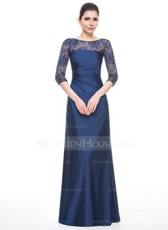 A-Line/Princess Scoop Neck Floor-Length Jersey Mother of the Bride Dress With Ruffle Beading Sequins (008058405)