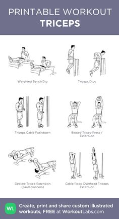 TRICEPS: my custom printable workout by WorkoutLabs Gym Workout Chart, Gym Workout Tips, Workout Plans, Cycling Workout, Bicep And Tricep Workout, Biceps And Triceps, Easy Daily Workouts, At Home Workouts, Chest Workouts