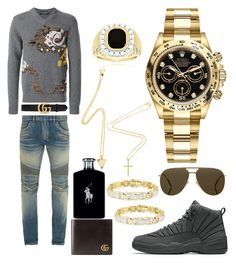 """""""Casual"""" by pitbull8382 on Polyvore featuring Dolce&Gabbana, Balmain, Gucci, Ralph Lauren, Rolex, Christian Dior and Marco Ta Moko"""