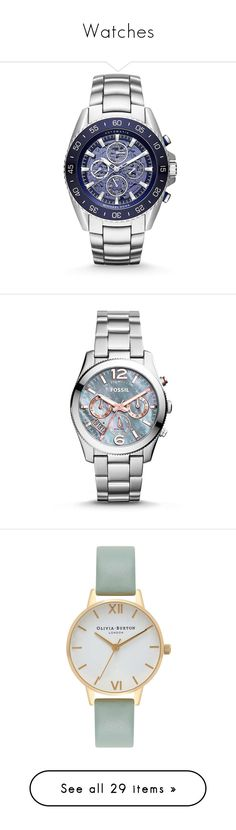 """""""Watches"""" by itskellywilliams ❤ liked on Polyvore featuring jewelry, watches, apparel & accessories, stainless steel watch bracelet, bracelet watch, fine jewelry, chronograph bracelet watch, chronos watch, grey watches and rose jewelry"""