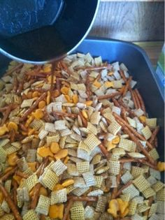 Homemade Chex Mix.  I did not have onion powder so I used extra garlic and this was the best chez mix I have ever made.
