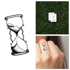Hourglass Temporary Tattoo Set of 4 by Tattify on Etsy