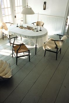 wishbone chairs with table