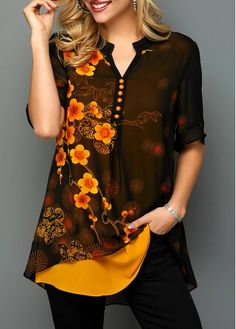 Orange Vintage Shirt Floral Print for Women Faux Two Piece Split Neck Button Detail Printed Blouse Stylish Tops For Girls, Trendy Tops For Women, Blouses For Women, Modele Hijab, Tie Front Blouse, Printed Blouse, Half Sleeves, Blouse Designs, Streetwear