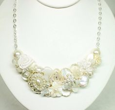 Shimmery Bridal Bib NecklacePearl Bridal Jewelry by BrassBoheme, $75.00