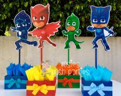PJ Masks handcrafted wood centerpiece for birthday or special occasion Night Catboy Gekko Night Ninja Owelette Birthday centerpiece SET OF 4 Pj Mask Party Decorations, Diy Birthday Decorations, Pjmask Party, Pj Masks Birthday Cake, Festa Pj Masks, Little Mermaid Birthday, Birthday Centerpieces, Party Activities, 4th Birthday Parties