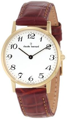 Claude Bernard Women's 20060 37J BB Classic Ladies - Slim Line Gold PVD White Dial Brown Leather Watch claude bernard. $225.00. Mineral crystal. Gold pvd coated stainless steel case. Water resistant up to 99 feet (30 m). Brown leather strap. White dial with striking numbers