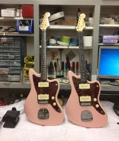 Matching Jazzmasters? Please and thank you Master Builder Dennis Galuszka  #Guitar #Guitars #Music #Musician #Jazzmaster #Custom #CustomShop #Pink #Love #Play #Electric #ElectricGuitar #Matching