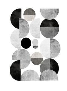 Grau und weiß minimalistischen Kunstdruck/Poster von exileprints