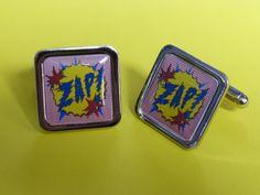 Pop Art.... ZAP Cufflinks by mixedupdolly on Etsy (Accessories, Cuff Links, Men, designer, chrome, mixed up dolly, design, pop art, retro, vintage, bang, lichtenstein, kapow, zap, batman, 70's)