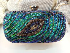 Free Shipping drop shipping 2014 New Vintage Peacock Feathers Clutch evening bag , Clutches Bag With shoulder Chain-in Evening Bags from Lug...