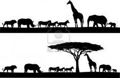 Safari animal silhouette Stock Photo