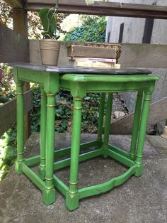 green distressed nesting tables annie sloan antibes Furnished Dreams & Other Things: The new It Girl of the furniture scene