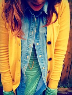 Casual fall or spring outfit idea. Stripes, denim shirt with mustard cardigan