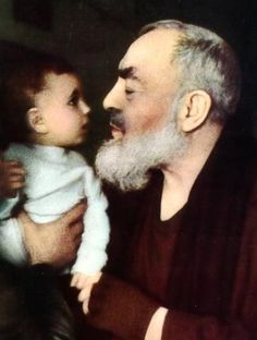 Close encounters with Padre Pio the most famous picture, children, blessings, at the ballots downtown, eating