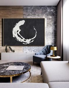 CZ Art Design - Hand painted Horizontal Minimalist Abstract Art #MN50C, Large black and white abstract canvas art #MN41C. For neutral interiors and minimalist interior design decor.