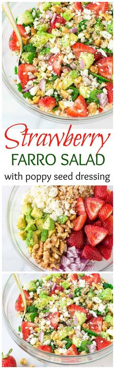 This Strawberry Farro Salad is full of spinach, feta, avocado, and lots of fresh strawberries. Topped with a sweet balsamic poppyseed dressing. The perfect summer meal! Recipe at http://www.wellplated.com /wellplated/