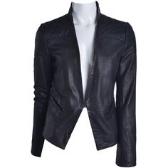 Doma Leather Quilt Detailed Lamb Blazer (367676901) ($598) ❤ liked on Polyvore featuring outerwear, jackets, blazers, black, leather blazer jacket, genuine leather jacket, 100 leather jacket, quilted leather jacket and leather jacket