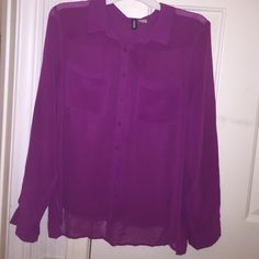 Long sleeve button down sheer shirt Used once  SIZE: 8 medium COLOR: Magenta DESCRIPTION: Long sleeves - button up - collared - sheer - long length - 2 front pockets MATERIAL: 100% Polyester H&M Tops Button Down Shirts