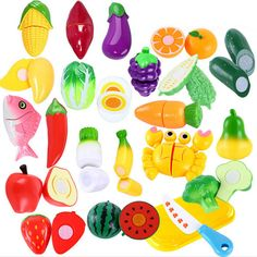 Kids Pretend Cutting Set Child Gift Role Play Kitchen Fruit Vegetable Food Toys for sale online Diy For Kids, Gifts For Kids, Baby Dolls For Kids, Felt Fruit, Sweet 16 Decorations, Colorful Fruit, Educational Toys For Kids, Game Pieces, Pretty Pastel