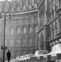 Inch Print (other products available) - ST PANCRAS CHAMBERS, London. The south facade of the station with a man walking along the pavement beside a row of parked cars. Date range John Gay. - Image supplied by Historic England - print made in the UK Fine Art Prints, Canvas Prints, Framed Prints, Old London, Vintage London, Victorian Architecture, Pavement, Present Day, Photographic Prints