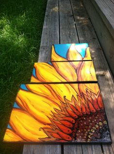 Triptych Sunflower painting
