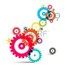 Transparent Colorful Wheals Cogs Gears Vector on White Background Stock Vector