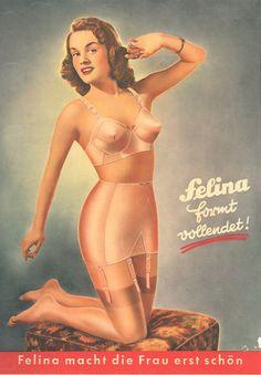 Felina, vintageg German lingerie - love the design lines on this bra!