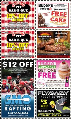 Smoky Mountains - Pigeon Forge Coupons - Gatlinburg Discount Coupons Gatlinburg Coupons, Grill Breakfast, Smoky Mountains Attractions, Hot Fudge Cake, Tupperware Recipes, Wood Buffet, Bar B Que, Mountain Vacations, Tennessee Vacation