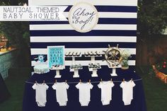 Nautical Themed Baby Shower ♥ Ahoy Its A Boy backdrop ♥ Diaper cake ♥ Adorable framed onesie to sign ♥ Anchor charm necklace's ♥ Gorgeous Nautical themed invitation and more! ♥