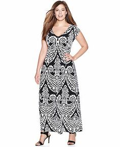 INC International Concepts Plus Size Cap-Sleeve Printed Maxi Dress - Plus Size Dresses - Plus Sizes - Macy's