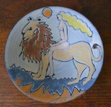 Tessa Fuchs English Studio Art Pottery Lady & Lion Blue Bowl