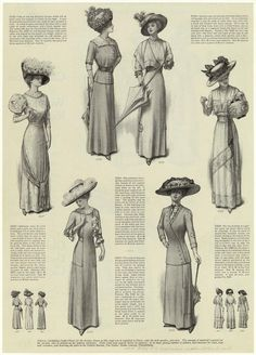 "Women in summer dresses, 1910s. From Ladies' Home Journal, July 1910. ""5332 One of the new Russian blouses is shown on the right. 5327 Afternoon dress of white dimity with a pink dot, worn with a Chanticleer frill of sheer white batiste. 5333 The unbroken shoulderline is shown in the afternoon dress on the left. 5323 Tub suits of linen are the most useful sort of clothes for general wear. 5329 Dress above for the evening or a garden party."""