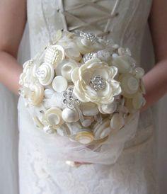 Button Bouquet Fabric Flower Wedding Bouquet von DesignByThyll, $620.00
