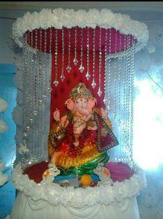 100 Home Ganpati Decorations Ideas Pictures Part 2 3 Ganpati Decoration Makhar Home Decorating
