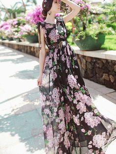 Ericdress imprimé fleurs bowknot col en V Maxi Dress Robe maxi
