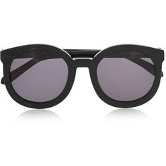 Karen Walker Super Duper Strength round-frame acetate sunglasses (3.882.810 IDR) ❤ liked on Polyvore featuring accessories, eyewear, sunglasses, glasses, black sunglasses, black cat eye sunglasses, black lens sunglasses, circle sunglasses and cateye sunglasses