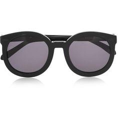 Karen Walker Super Duper Strength round-frame acetate sunglasses (3.882.810 IDR) ❤ liked on Polyvore featuring accessories, eyewear, sunglasses, glasses, black sunglasses, black cat eye sunglasses, black lens sunglasses, circle sunglasses and cateye sunglasses