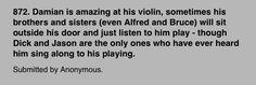 Damian and his violin #batfam #headcanons
