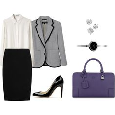 Grey and black skirt suit and accessories for an interview