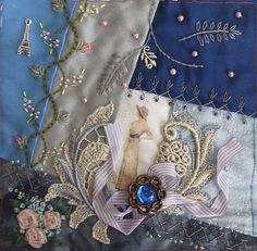 I ❤ crazy quilting & beadwork & ribbon embroidery . . . My work for Rengin's Victorian Ladies DYB block. ~By Hideko Ishida